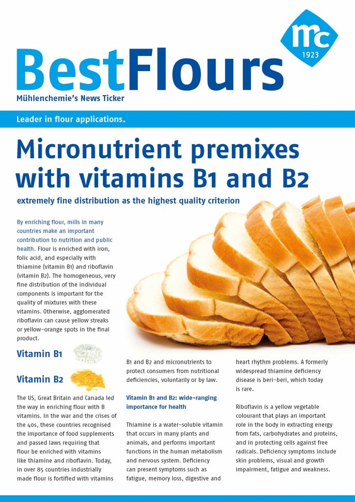 Micronutrient premixes with vitamin B1 and B2